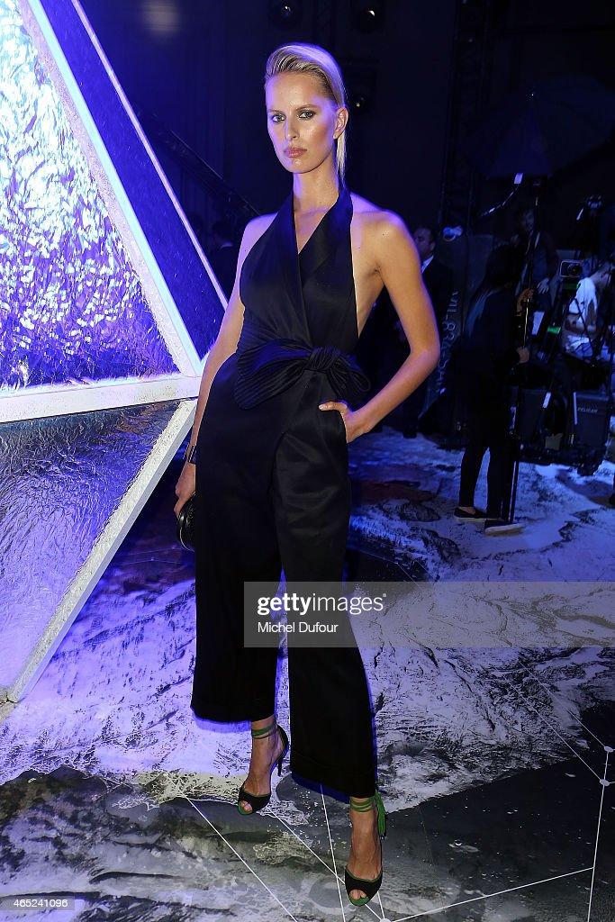 Karolina Kurkova attends the HM show as part of the Paris Fashion Week Womenswear Fall/Winter 2015/2016 at Grand Palais on March 4 2015 in Paris...