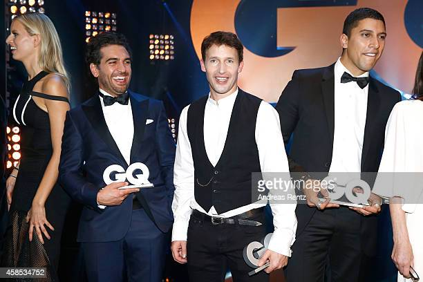 Karolina Kurkova Elyas M'Barek James Blunt and Andreas Bourani are seen on stage at the GQ Men Of The Year Award 2014 at Komische Oper on November 6...