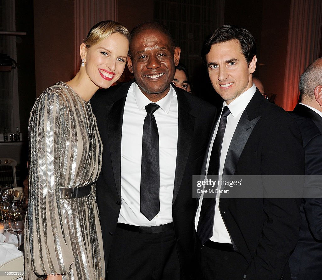 (L to R) Karolina Kurkova, Forest Whitaker and Archie Drury attend the Place For Peace dinner co-hosted by Ella Krasner and Forest Whitaker to support the Peace Earth Foundation in association with Star Diamond at Banqueting House on November 10, 2012 in London, England.