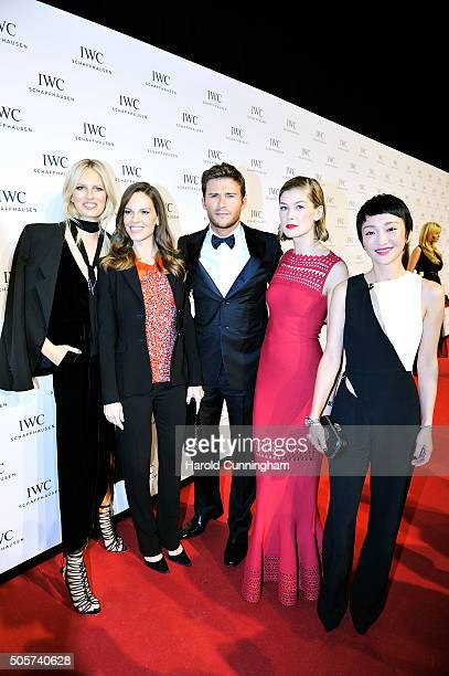 Karolina Kurkova Hilary Swank Scott Eastwood Rosamund Pike and Zhou Xun attend the IWC 'Come Fly With Us' Gala Dinner during the launch of the...