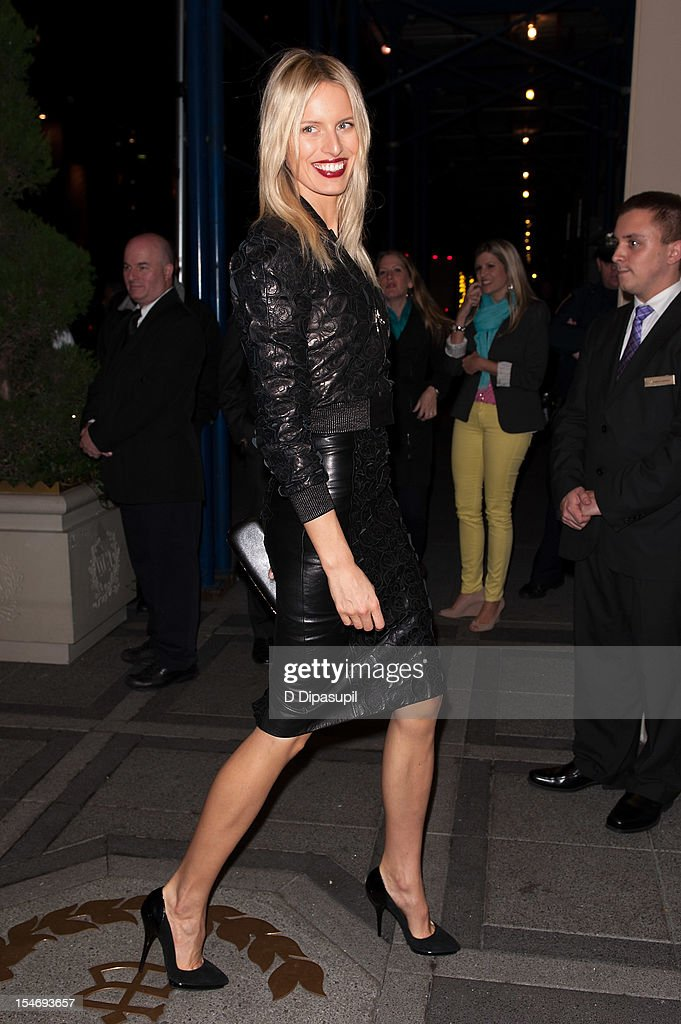 Karolina Kurkova is seen arriving at The Waldorf Towers on October 24, 2012 in New York City.