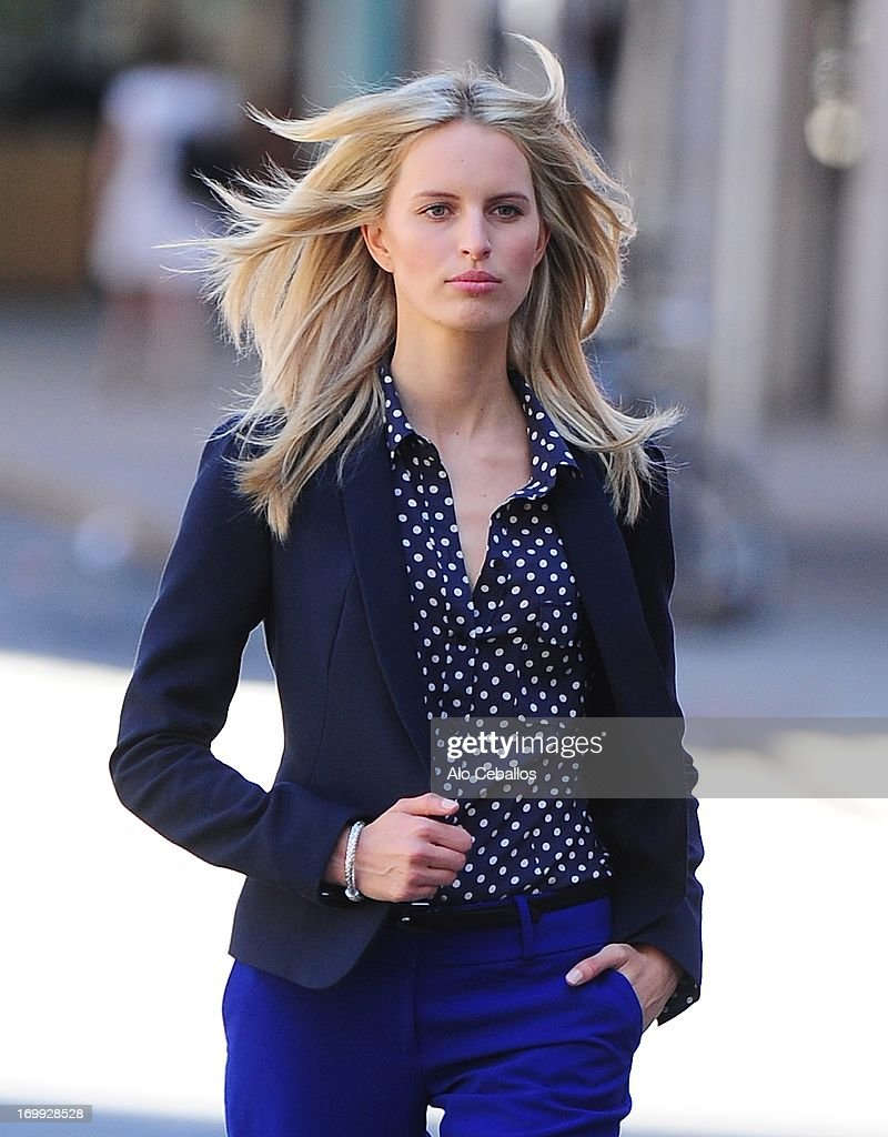 Karolina Kurkova is seen during a photo shoot in the East Village on June 4, 2013 in New York City.