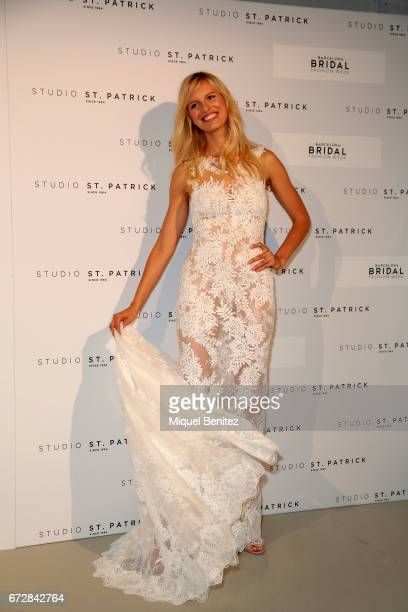 Karolina Kurkova poses during the fiting of Studio St Patrick Pronovias as part of the Barceloa Bridal Fashion Week 2017 at Fira Monjuic 2 on April...