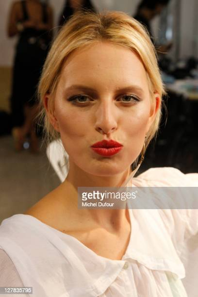 Karolina Kurkova seen backstage at the Christian Dior Ready to Wear Spring / Summer 2012 show during Paris Fashion Week at Musee Rodin on September...