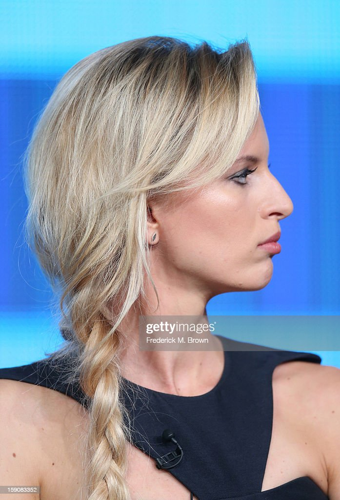 Karolina Kurkova, Supermodel Coach speak onstage at the 'The Face' panel discussion during the Oxygen portion of the 2013 Winter TCA Tour- Day 4 at the Langham Hotel on January 7, 2013 in Pasadena, California.