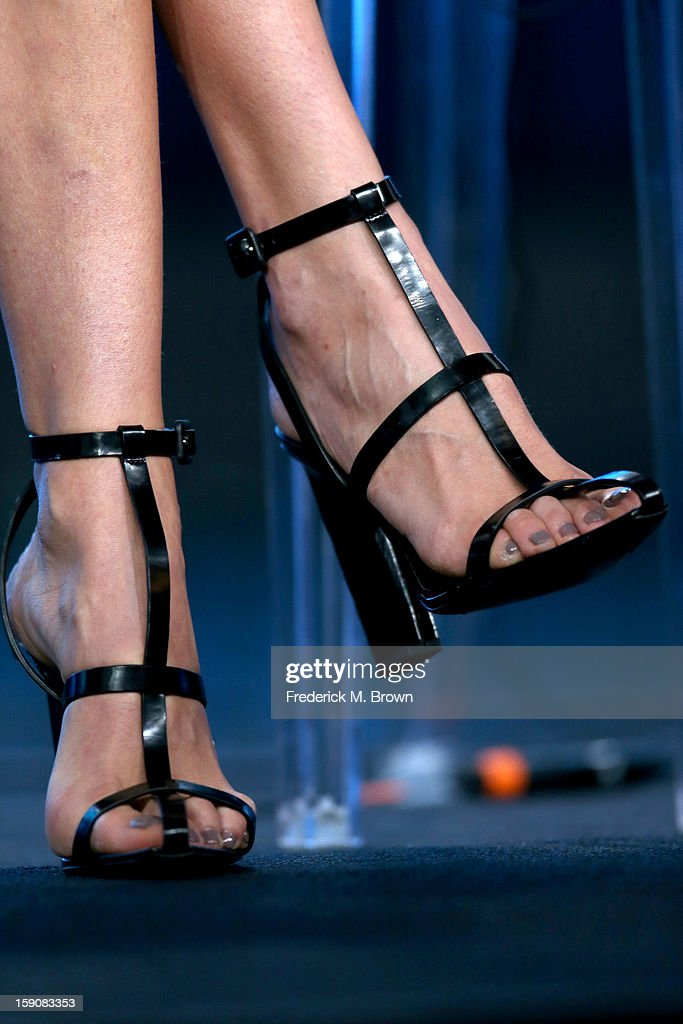 Karolina Kurkova, Supermodel Coach (shoe detail) speaks onstage at the 'The Face' panel discussion during the Oxygen portion of the 2013 Winter TCA Tour- Day 4 at the Langham Hotel on January 7, 2013 in Pasadena, California.