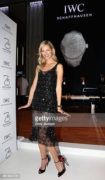 Karolina Kurkova visits the IWC booth during the Salon International de la Haute Horlogerie 2015 at the Palexpo on January 20 2015 in Geneva...