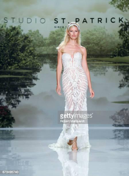 Karolina Kurkova walks the runway at Studio St Patrick show during Barcelona Bridal Fashion Week 2017 on April 26 2017 in Barcelona Spain