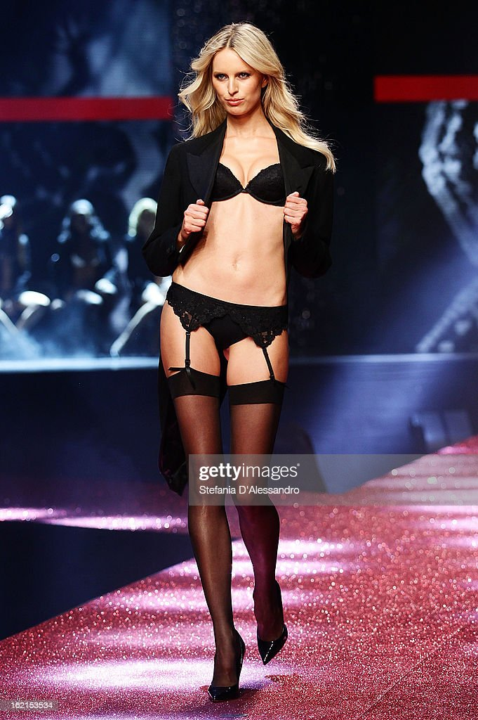 <a gi-track='captionPersonalityLinkClicked' href=/galleries/search?phrase=Karolina+Kurkova&family=editorial&specificpeople=202513 ng-click='$event.stopPropagation()'>Karolina Kurkova</a> walks the runway at the Yamamay Fashion Show during Milan Fashion Week Fall/Winter 2013/14 at the Alcatraz on February 19, 2013 in Milan, Italy.