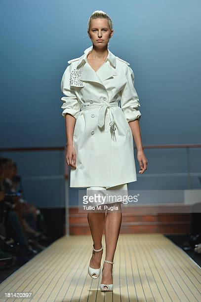 Karolina Kurkova walks the runway during the Ermanno Scervino show as a part of Milan Fashion Week Womenswear Spring/Summer 2014 on September 21 2013...