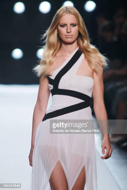 Karolina Kurkova walks the runway during the Gianfranco Ferre Milan Fashion Week Womenswear S/S 2011 show on September 24 2010 in Milan Italy