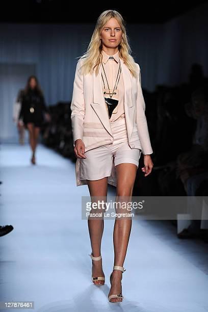 Karolina Kurkova walks the runway during the Givenchy Ready to Wear Spring / Summer 2012 show during Paris Fashion Week on October 2 2011 in Paris...