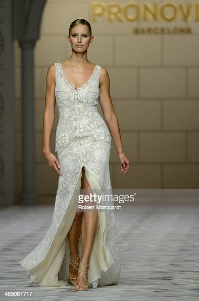 Karolina Kurkova walks the runway for the Pronovia's 50th anniversary bridal fashion show during 'Barcelona Bridal Week 2014' on May 9 2014 in...