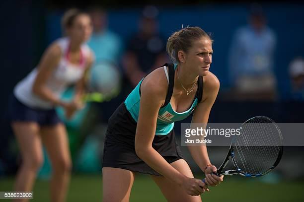 Karolina Pliskova and Kristyna Pliskova of Czech Republic during their women's doubles match against Laura Robson and Freya Christie of Great Britain...