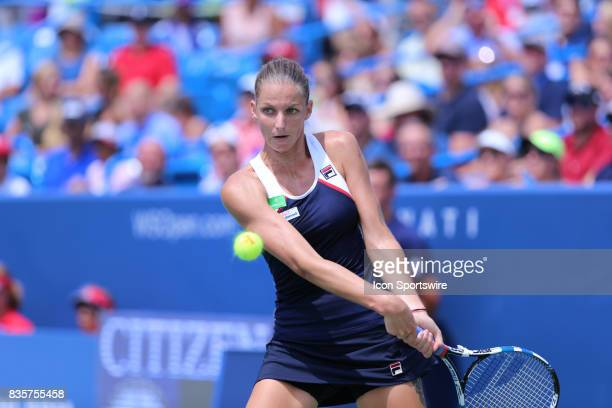 Karolina Pliskova hits a backhand during the Western Southern Open at the Lindner Family Tennis Center in Mason Ohio on August 18th 2017