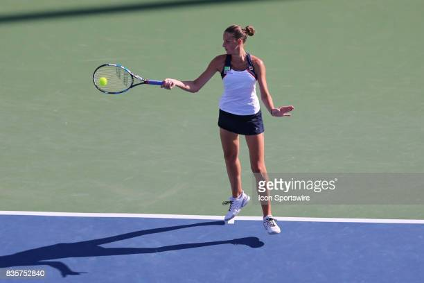 Karolina Pliskova hits a forehand during the Western Southern Open at the Lindner Family Tennis Center in Mason Ohio on August 18th 2017