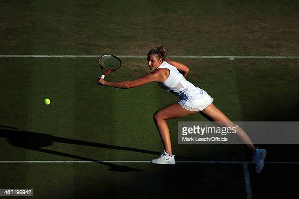 Karolina Pliskova in action during her Women's Singles Second Round match against Svetlana Kuznetsova on day four of the Wimbledon Lawn Tennis...