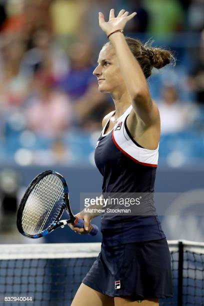 Karolina Pliskova of Czech Republic acknowledges the crowd after defeating Natalia Vikhlyantsevaof Russia during day 5 of the Western Southern Open...