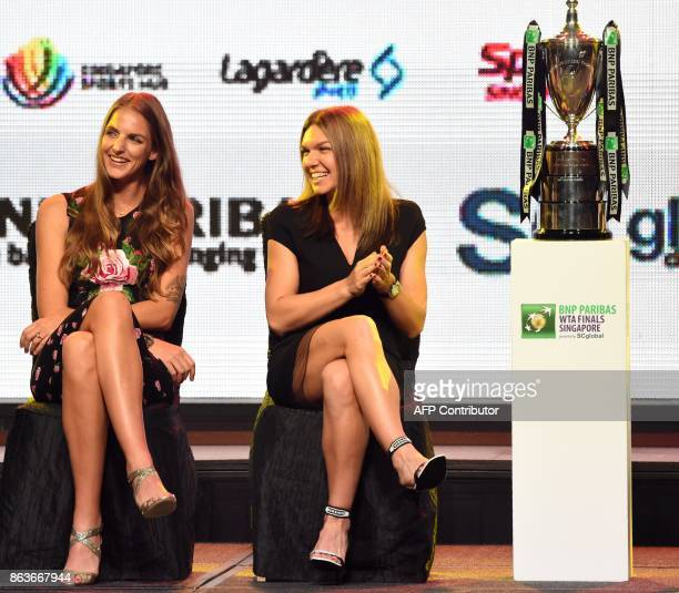 Karolina Pliskova of Czech Republic and Simona Halep of Romania attend the Official Draw Ceremony of the WTA Finals Singapore on October 20 2017 The...