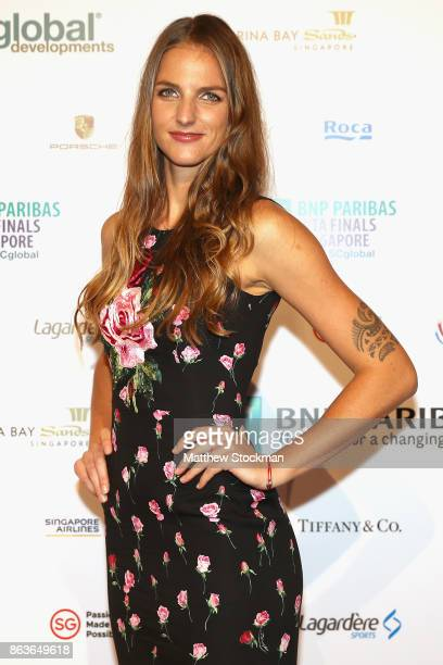 Karolina Pliskova of Czech Republic arrives for the Official Draw Ceremony and Gala of the BNP Paribas WTA Finals Singapore presented by SC Global at...