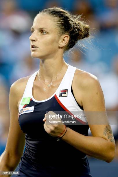 Karolina Pliskova of Czech Republic celebrates a point against Natalia Vikhlyantsevaof Russia during day 5 of the Western Southern Open at the...