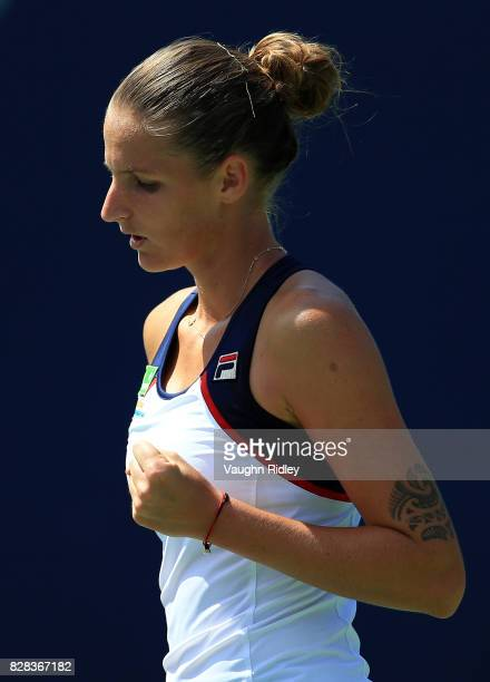 Karolina Pliskova of Czech Republic celebrates a point against Anastasia Pavlyuchenkova of Russia during Day 5 of the Rogers Cup at Aviva Centre on...