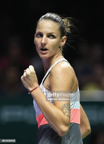 Karolina Pliskova of Czech Republic celebrates a point in her singles match against Venus Williams of the United States during day 1 of the BNP...