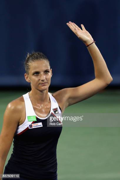 Karolina Pliskova of Czech Republic celebrates after defeating Natalia Vikhlyantseva of Russia during Day 5 of the Western Southern Open at the...