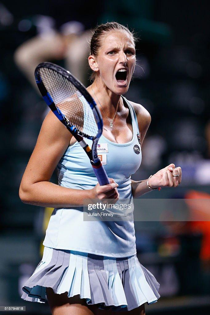 Karolina Pliskova of Czech Republic celebrates defeating Johanna Konta of Great Britain during day nine of the BNP Paribas Open at Indian Wells Tennis Garden on March 15, 2016 in Indian Wells, California.