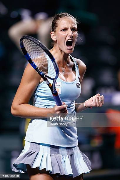 Karolina Pliskova of Czech Republic celebrates defeating Johanna Konta of Great Britain during day nine of the BNP Paribas Open at Indian Wells...
