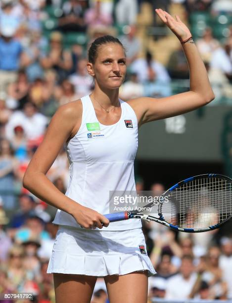 Karolina Pliskova of Czech Republic celebrates her win over Eveniya Rodina of Russia on day two of the 2017 Wimbledon Championships at the All...