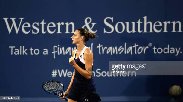 Karolina Pliskova of Czech Republic celebrates match point after defeating Natalia Vikhlyantseva of Russia during Day 5 of the Western Southern Open...