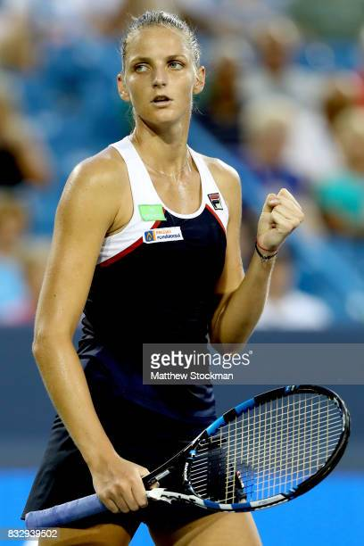 Karolina Pliskova of Czech Republic celebrates match point against Natalia Vikhlyantsevaof Russia during day 5 of the Western Southern Open at the...