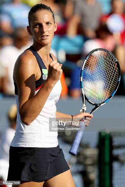 Karolina Pliskova of Czech Republic celebrates match point against Caroline Wozniacki of Denmark during day 7 of the Western Southern Open at the...