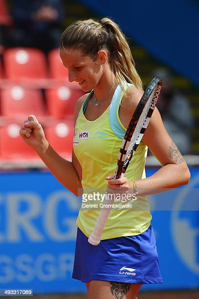 Karolina Pliskova of Czech Republic celebrates winning against Elina Svitolina of Ukraine during Day 7 of the Nuernberger Versicherungscup on May 23...