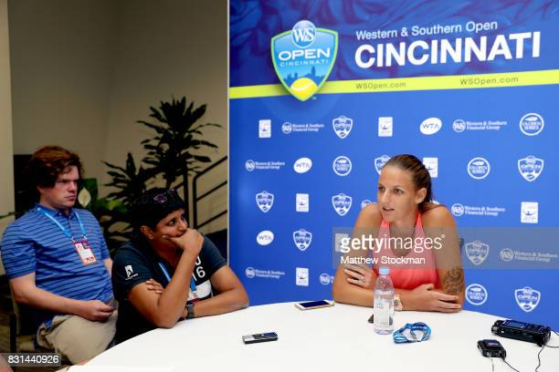 Karolina Pliskova of Czech Republic fields questions from the media during Day 3 of the Western Southern Open at the Lindner Family Tennis Center on...