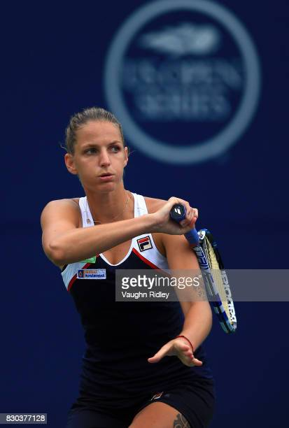 Karolina Pliskova of Czech Republic hits a shot against Caroline Wozniacki of Denmark during Day 7 of the Rogers Cup at Aviva Centre on August 11...