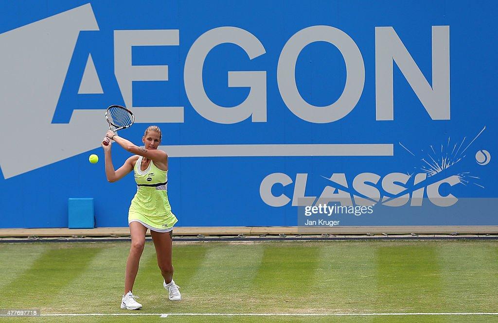 Karolina Pliskova of Czech Republic in action against Carla Saures Navarro of Spain on day five of the Aegon Classic at Edgbaston Priory Club on June 19, 2015 in Birmingham, England.