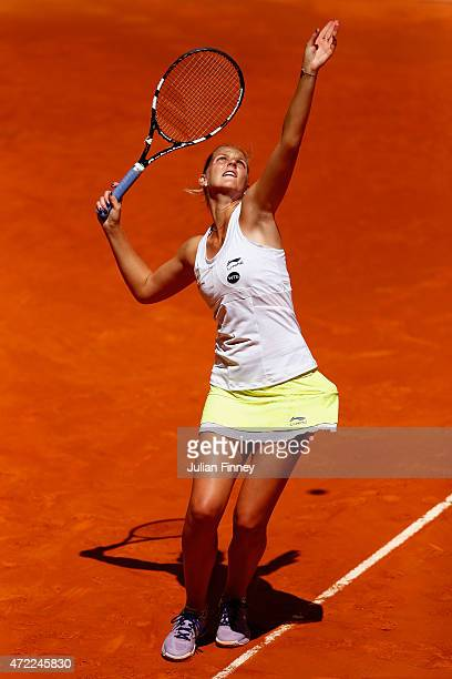 Karolina Pliskova of Czech Republic in action against Caroline Garcia of France during day four of the Mutua Madrid Open tennis tournament at the...