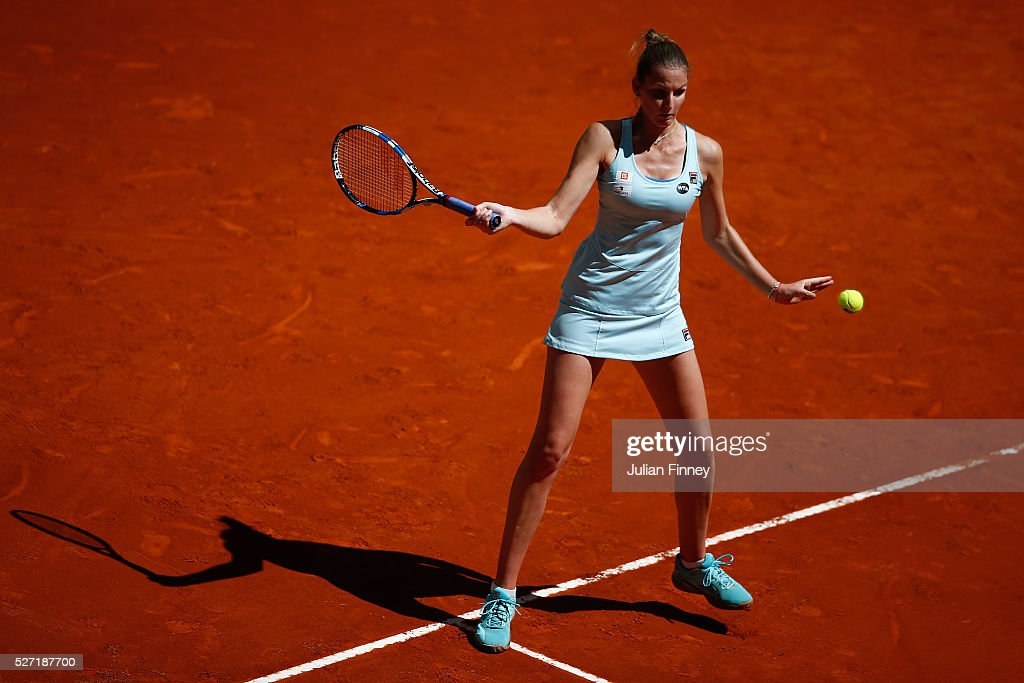 <a gi-track='captionPersonalityLinkClicked' href=/galleries/search?phrase=Karolina+Pliskova&family=editorial&specificpeople=6705229 ng-click='$event.stopPropagation()'>Karolina Pliskova</a> of Czech Republic in action against Christina McHale of USA during day three of the Mutua Madrid Open tennis tournament at the Caja Magica on May 02, 2016 in Madrid, Spain.