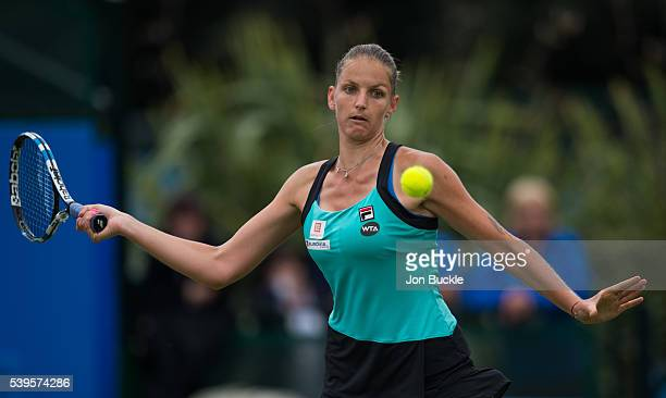 Karolina Pliskova of Czech Republic in action during Alison Riske of USA on day seven of the WTA Aegon Open on June 12 2016 in Nottingham England