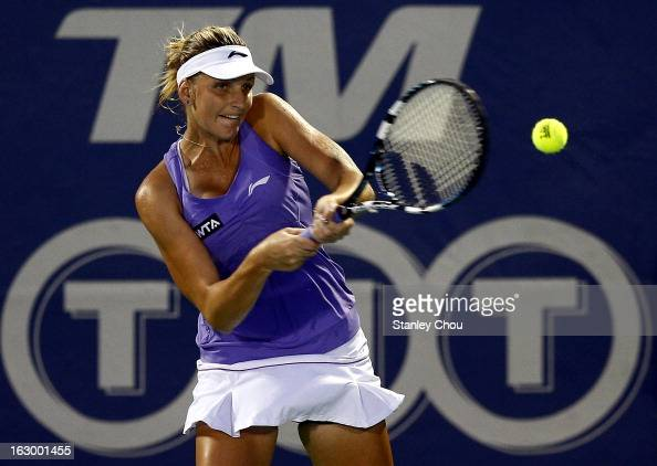 Karolina Pliskova of Czech Republic in action during the Singles Final against Bethanie MattekSands of USA during the 2013 BMW Malaysian Open at the...