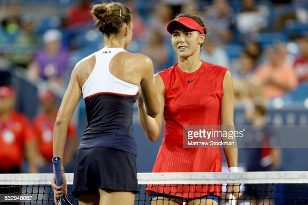 Karolina Pliskova of Czech Republic is congratulated by Natalia Vikhlyantseva of Russia after their match during day 5 of the Western Southern Open...