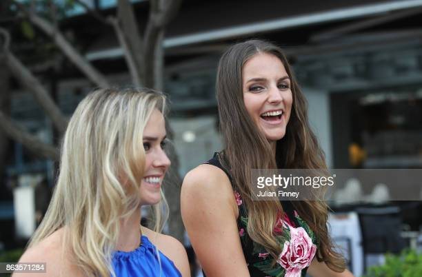 Karolina Pliskova of Czech Republic laughs with Elina Svitolina of Ukraine prior to the BNP Paribas WTA Finals Singapore presented by SC Global on...