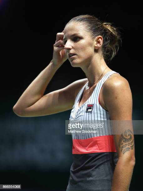 Karolina Pliskova of Czech Republic looks dejected in her singles match against Jelena Ostapenko of Latvia during day 5 of the BNP Paribas WTA Finals...