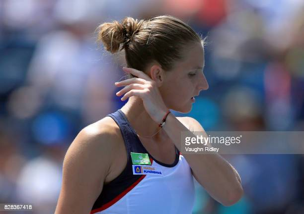 Karolina Pliskova of Czech Republic looks on during her match against Anastasia Pavlyuchenkova of Russia during Day 5 of the Rogers Cup at Aviva...