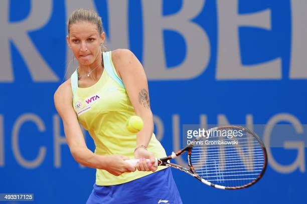Karolina Pliskova of Czech Republic plays a backhand during her match against Elina Svitolina of Ukraine during Day 7 of the Nuernberger...
