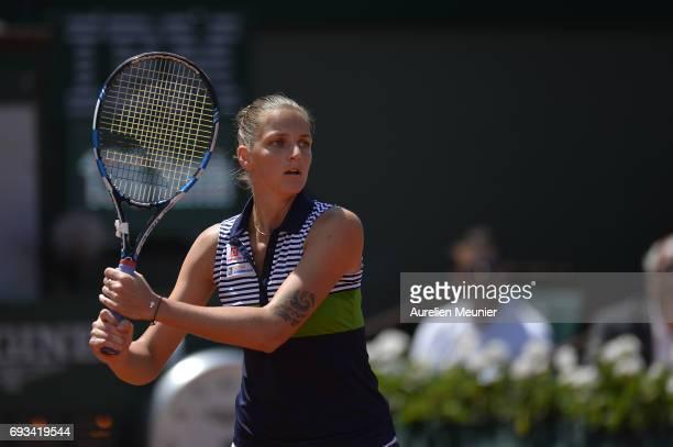 Karolina Pliskova of Czech Republic plays a forehand during the women's singles quarterfinal match against Caroline Garcia of France on day eleven of...