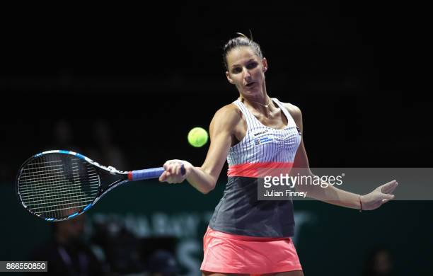Karolina Pliskova of Czech Republic plays a forehand in her singles match against Jelena Ostapenko of Latvia during day 5 of the BNP Paribas WTA...