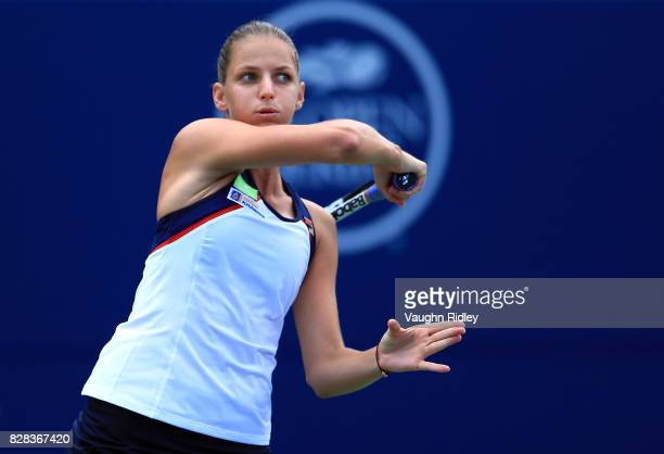 Karolina Pliskova of Czech Republic plays a shot against Anastasia Pavlyuchenkova of Russia during Day 5 of the Rogers Cup at Aviva Centre on August...